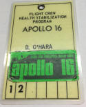 Dee O'Hara Apollo 16 Health Stabilization Badge