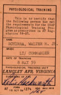 Wally Schirra Physiological Training Certification